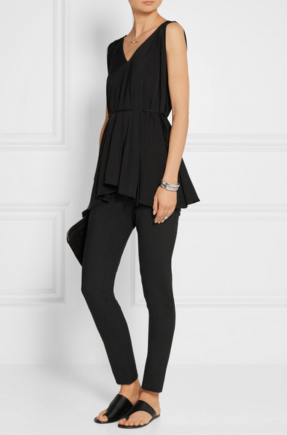 This top would be perfect for a laid back night out with a slim at the waist to wide at the cuff but fluid white pant with a super high heel. The Row net-a-porter.com sale