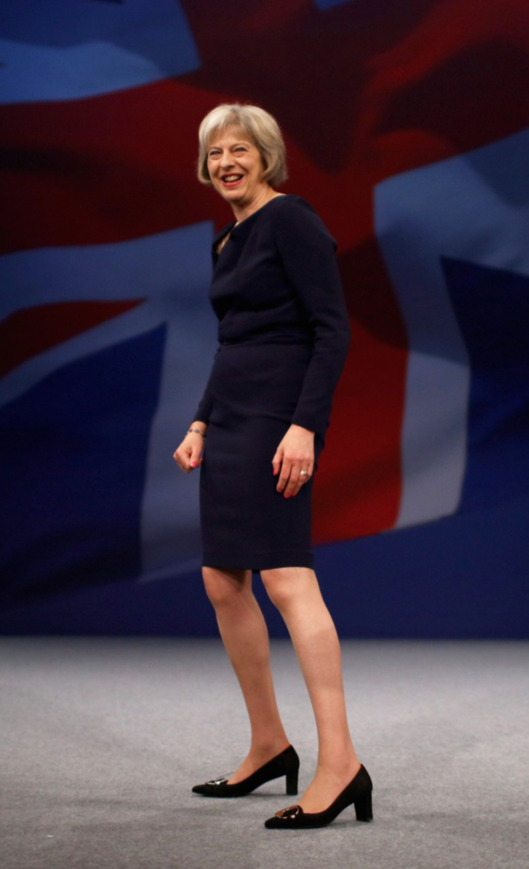 Theresa May British PM sporting a sensible and stylish Vivier pump. You go girl!