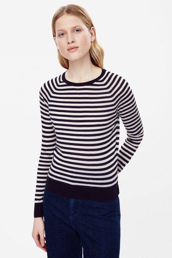 Striped cotton crew