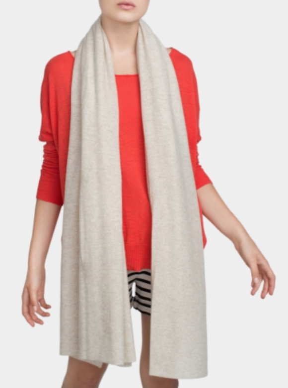 White and Warren This spring weight travel wrap is on sale now, a perfect neutral mixer color.