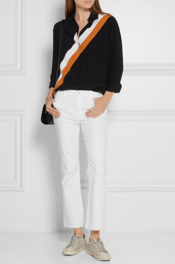 Net-a-porter Mid rise is easier to wear and the fringed cropped flare of these looks new.