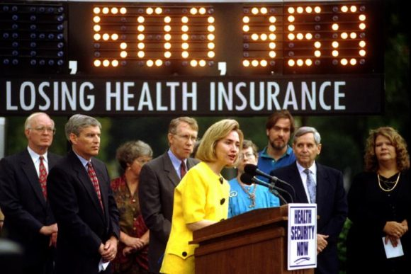 As First Lady at a health care rally August 16,1994