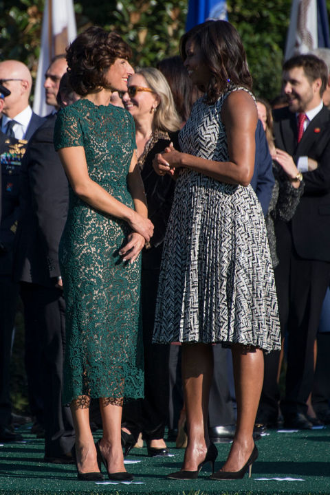 Agnese Landini wearing Valentino, with Michelle Obama