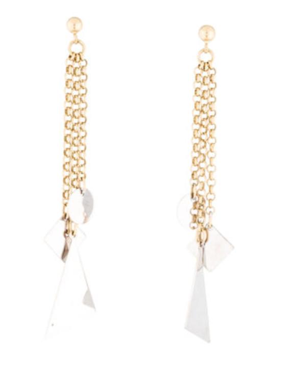 14K geometric drop earrings