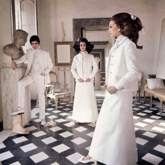 Marisa Berenson In Valentino at Cy Twombly's palazzo henry clark 1968