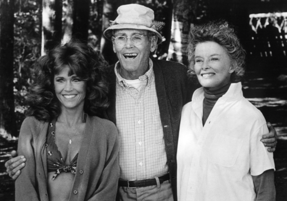 With father, Henry Fonda and Katharine Hepburn while filming On Golden Pond