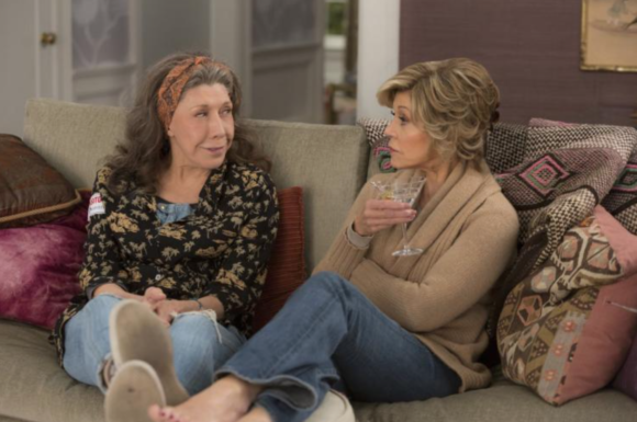 With Lily Tomlin in the Netflix series Frankie and Grace, JF tweeted the 3rd season airs March 24th, can't wait!