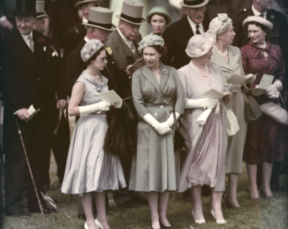 With Princess Margaret and the Queen Mother at Epsom Downs
