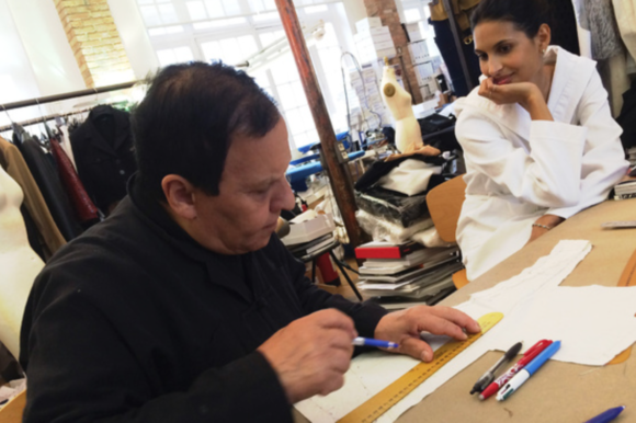 Azzadine Alaia at work in his atelier