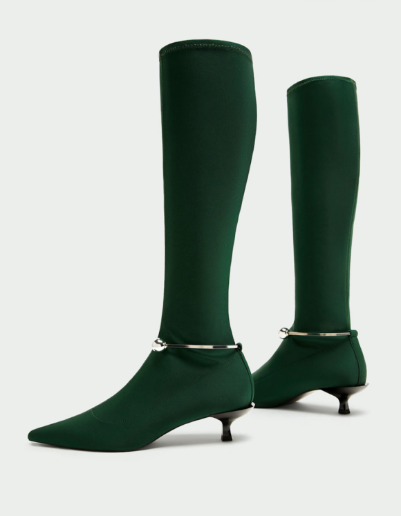 Zara green sock boots